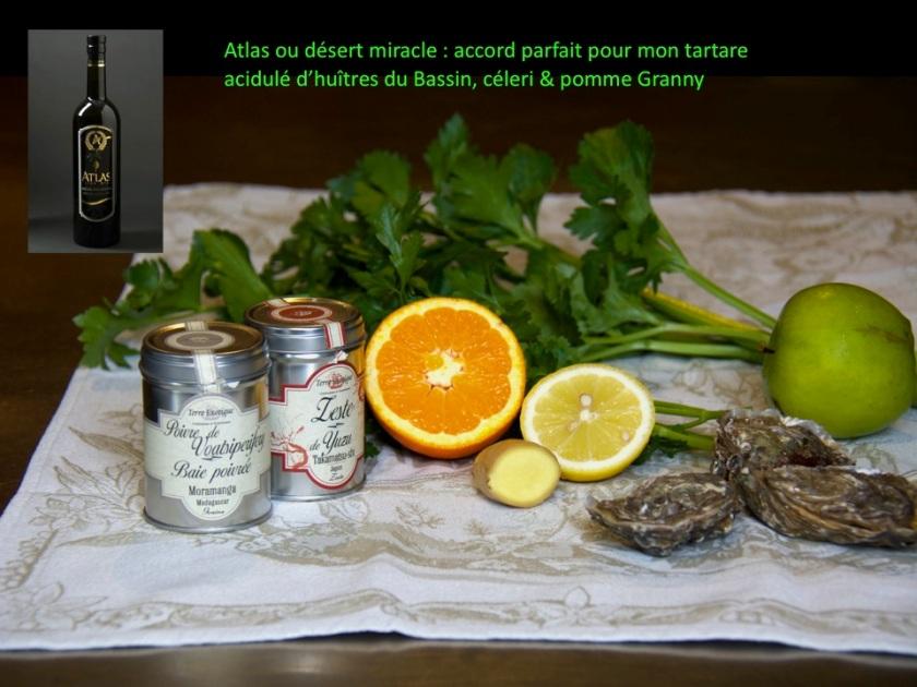 Tartare d'huîtres les ingrédients. Photo Sophie Juby